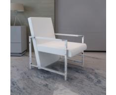vidaXL Poltrona cubo bianca di alta qualità con piedi in cromo