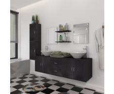 vidaXL Set 11 Mobili per bagno con lavandino rubinetto nero