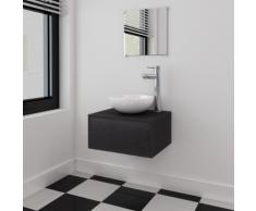 vidaXL Set 3 pz Mobili da bagno e lavandino nero