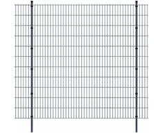 vidaXL Pannello di recinzione 2D giardino con paletti 2008x2230 mm 30m grigio