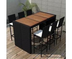vidaXL Set Bar da Giardino 13 Pz in Polirattan e Piano Legno Acacia