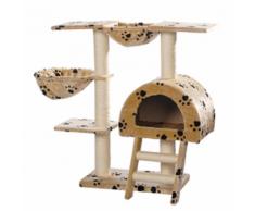 vidaXL Casina ad albero per gatto 105 cm Peluche beige con impronte