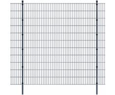 vidaXL Pannello di recinzione 2D giardino con paletti 2008x2230 mm 4m grigio