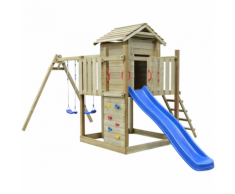 vidaXL Set da gioco in legno con scaletta, scivolo e altalene 557x280x271 cm