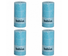 Bolsius Set 4 Candele Pilastro Rustiche 200 x 100 mm Blu