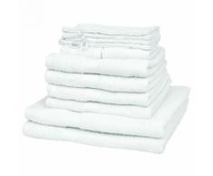 vidaXL Set 12 pz Asciugamani cotone 100% 500 gsm bianchi