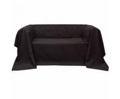 vidaXL Fodera per divano in micro-camoscio marrone 210 x 280 cm