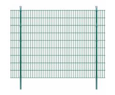 vidaXL Pannello di recinzione 2D giardino con paletti 2008x1830 mm 18m verde