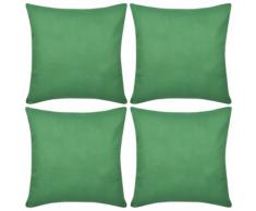 vidaXL Set 4 Federe in cotone verde 80 x cm