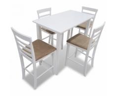 vidaXL Set Tavolo da bar in legno bianco e 4 sedie