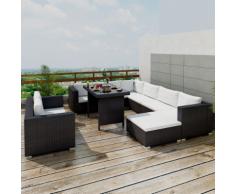 vidaXL Set 28 pz Mobili da esterno Salone giardino in polirattan nero