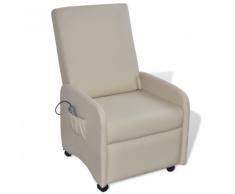 vidaXL Poltrona da massaggio pieghevole reclinabile in ecopelle crema