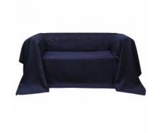 vidaXL Fodera per divano in micro-camoscio blu marino 270 x 350 cm