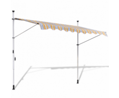 vidaXL Tenda da Sole a Scomparsa 400 cm ad Azionamento Manuale Giallo/Blu