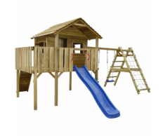 vidaXL Casetta in legno con rete, scivolo, altalene 560x440x294 cm