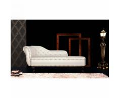 vidaXL Chaise longue Chesterfield poltrona, bianco crema