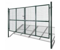 vidaXL Cancello recinto per giardino rete griglia 289 x 175 cm / 306 225