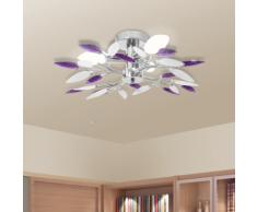 vidaXL Lampada da soffitto foglie bianche e viola in acrilico per 3 lampadine