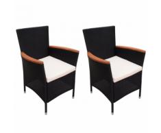 vidaXL 2 sedie da giardino in Poly Rattan colore nero