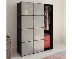 vidaXL Scaffale armadietto con 9 scomparti nero e bianco 37 x 115 150 cm