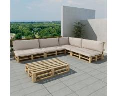 vidaXL Set 15 pz seduta da giardino pallet in legno 9 cuscini bianco sabbia