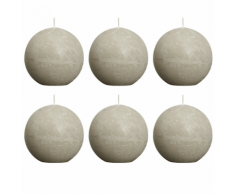 Bolsius Candela Sfera Rustica 80 mm Grigio ghiaia set di 6 pezzi