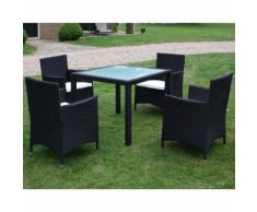 vidaXL Set Nove pz Tavolo e sedie da giardino in polirattan nero