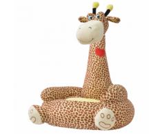 vidaXL Poltrona in Peluche per Bambini Giraffa Marrone