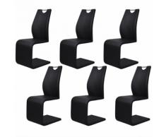 vidaXL Set 6 sedie da pranzo ecopelle nera a sbalzo