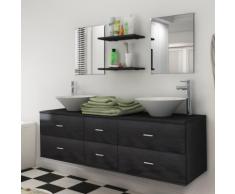 vidaXL Set 7 pz Mobili da bagno e lavandino nero