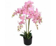 vidaXL Orchidea Artificiale con Vaso 75 cm Rosa