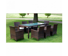 vidaXL Set 17 pezzi Tavolo e sedie da giardino in rattan marroni