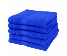 vidaXL Set 5 pz Asciugamani cotone 100% 500 gsm 70 x 140 cm blu reale