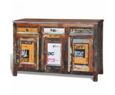 vidaXL Armadietto a credenza vintage legno riciclato 3 cassetti sportelli