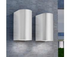 vidaXL Set Lampade da parete per esterno 2 pz