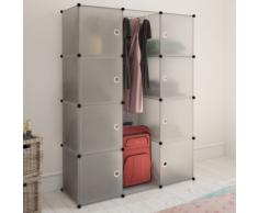vidaXL Scaffale armadietto modulare con 9 scomparti bianco 37 x 115 150 cm