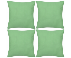 vidaXL Set 4 Federe in cotone verde mela 80 x cm