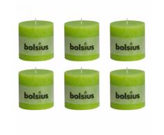 Bolsius Set 6 Candele Pilastro Rustiche 100 x mm Verde