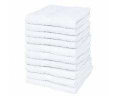 vidaXL Set 10 pz Asciugamani cotone 100% 500 gsm 30 x 50 cm bianchi