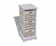 vidaXL Rastrelliera stoccaggio in legno bianco, 3 cestini di tessitura