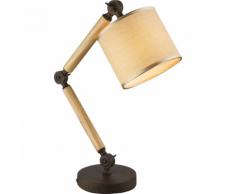 GLOBO Lampada da Scrivania JEFF I Legno e Stoffa 21501