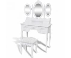 vidaXL Tavolo da trucco con sgabello e 3 specchiere