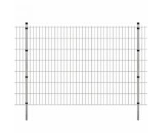 vidaXL Pannello di recinzione 2D giardino con paletti 2008x1430 mm 2m argento