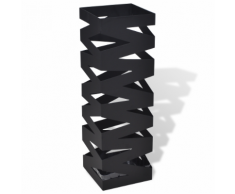 vidaXL Portaombrelli e bastoni da passeggio nero quadrato in acciaio 48,5 cm
