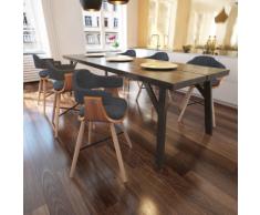 vidaXL Set 6 pz Sedia da pranzo in legno curvato e rivestimento tessuto