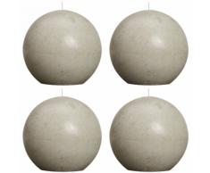 Bolsius Candela Sfera Rustica 100 mm Grigio ghiaia set di 4 pezzi