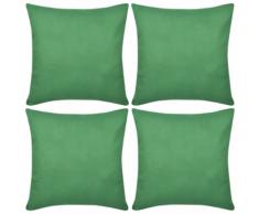 vidaXL Set 4 Federe in cotone verde 50 x cm
