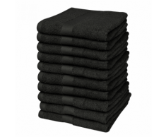 vidaXL Set 10 pz Asciugamani cotone 100% 500 gsm 30 x 50 cm neri