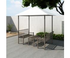 vidaXL Padiglione gazebo da giardino con tavolo e panchine 2,5 x 1,5 2,4 m