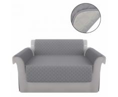 vidaXL Fodera protezione divano copridivano grigio in microfibra